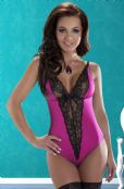 'Avanua Lingerie' Camelia Pink Lycra Body with Black Lace ( UK Size 8 - 12 )